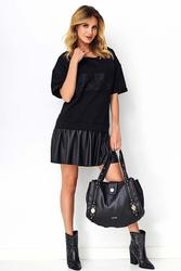 Czarna wygodna stylowa sukienka z eko-skórą i koronką