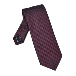 Bordowy jedwabny krawat ze strukturą DŁUGI