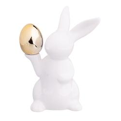Zając wielkanocny  figurka porcelanowa ze złotym jajkiem altom design 11,5 x 8 x 15,5 cm
