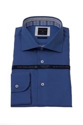 Niebieska modna koszula męska taliowana slim fit z kontrastami w kratę 40