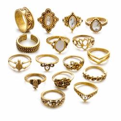 Pierścionki ZESTAW BOHO VINTAGE złote kryształ - złoty