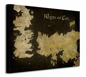 Game of Thrones Westeros and Essos Antique Map - Obraz na płótnie
