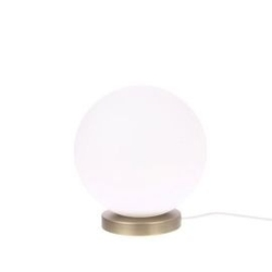 Hk living :: lampa stołowa metalowa kula rozmiar m biała