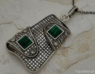 Pappa - srebrny wisiorek malachit z kryształkami