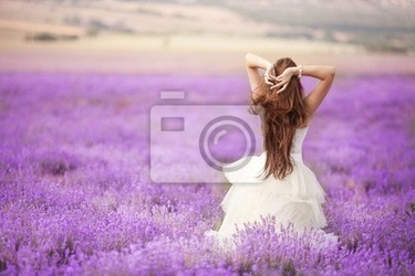 Fototapeta panna młoda w dniu ślubu w lawendowym polu