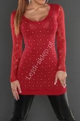 Ciemno czerwona tunika z jetami i koronkowymi plecami 8059