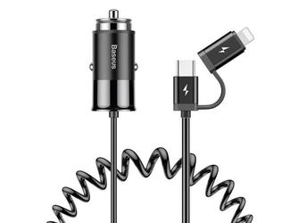 Ładowarka samochodowa baseus 2w1 lightning usb-c 1.2m 4.8a black - czarny