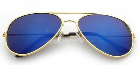 Okulary aviator złoto-niebieskie pilotki przeciwsłoneczne 3025