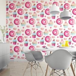 Tapeta na ścianę - pink donuts , rodzaj - tapeta flizelinowa