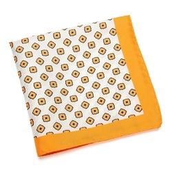 Jedwabna biała poszetka VAN THORN w pomarańczowy wzór.