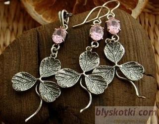 Koniczynka - srebrny komplet z różowym kryształem