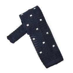 Granatowy krawat knit w białe kwadraty