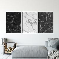 Zestaw trzech plakatów - shadow marble , wymiary - 30cm x 40cm 3 sztuki, kolor ramki - czarny