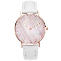 Zegarek damski pasek skóra tarcza melanż biały - Biały