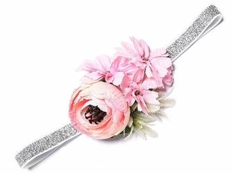 OPASKA gumka dziewczęca KWIATY BOHO pink silver - silver pink