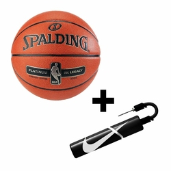 Piłka do koszykówki Spalding Platinum ZK Legacy Indoor + pompka Nike