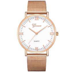 Zegarek GENEVA bransoleta MESH różowe złoto biały - rose gold white