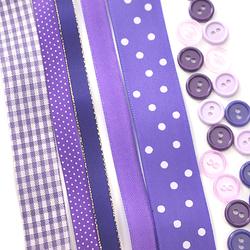Zestaw wstążek i guzików - fioletowy 1 - fioletowy 1