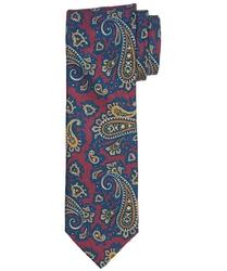 Bordowy krawat Profuomo w kolorowy wzór paisley