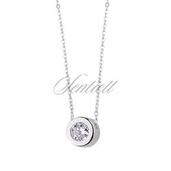 Srebrny naszyjnik pr.925 z okrągłą zawieszką i cyrkonią - Biała