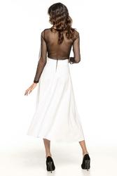 Biała Mocno Rozkloszowana Midi Spódnica