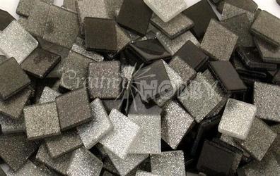 Mozaika glitter szara 10x10 mm - 190 sztuk - SZABRO
