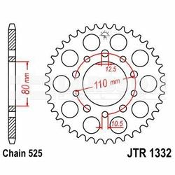 Zębatka tylna stalowa JT 1332-45, 45Z, rozmiar 525 2300666 Triumph Speedmaster 865