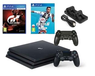 KONSOLA SONY PS4 PRO 1TB + 2 PADY + FIFA 19 + GRAN TURISMO + ŁADOWARKA