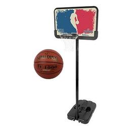 Zestaw kosz do koszykówki spalding nba logoman mobilny z regulacją wysokości 228 - 305 cm + piłka spalding tf-1000 legacy