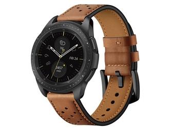Skórzany pasek alogy leather band do samsung gear s3watch 46mm brąz - brązowy