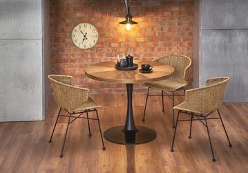 Stół nowoczesny okrągły - orzech - metalowa noga - 100 cm - carmello