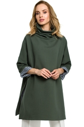 Długa damska bluza z golfem zielona m392