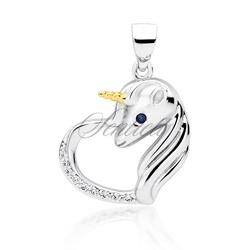 Srebrna zawieszka pr.925 serce - jednorożec z białymi cyrkoniami i szafirowym okiem - biała || szafirowa