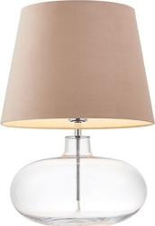 Lampa stołowa sawa velvet transparentna podstawa beżowy abażur