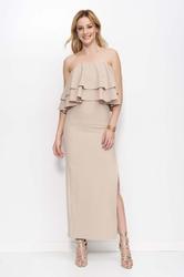 Beżowa sukienka maxi z falbanami