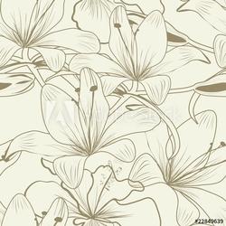 Obraz na płótnie canvas trzyczęściowy tryptyk bez szwu tapety z kwiatami lilii