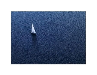 Lonely yacht. the top view - reprodukcja
