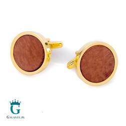 Złote spinki do mankietów z drewnem  x2 briar8