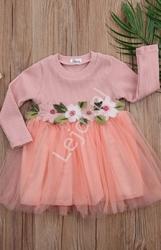 Sukienka dla dziewczynki z haftowanymi kwiatkami i tiulową spódniczką, tutu dress, koralowa 024