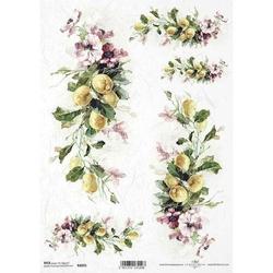 Papier ryżowy ITD A4 R1095 kwiaty cytryna