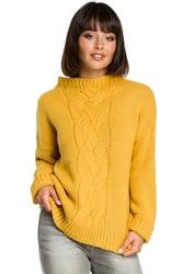 Sweter damski z warkoczem żółty bk003