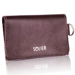 Skórzany portfel męskiwizytownik z miejscem na bilon solier sw20 brązowy vintage - brązowy vintage