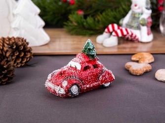 Lampion  figurka ceramiczna led  dekoracja świąteczna samochód z choinką altom design