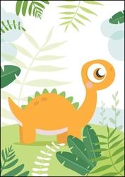 Dino pomarańczowy - plakat wymiar do wyboru: 40x50 cm