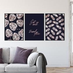 Zestaw trzech plakatów - eat well, travel often , wymiary - 40cm x 50cm 3 sztuki, kolor ramki - biały