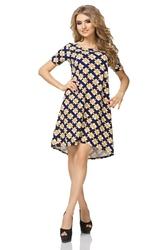 Sukienka trapezowa z krótkim rękawem wzór - romby
