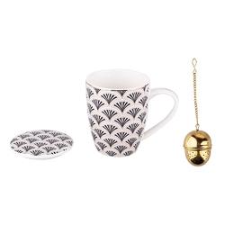 Kubek do kawy i herbaty porcelanowy z podstawką i zaparzaczem altom design modern nature, dekoracja art deco 300 ml opakowanie prezentowe