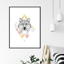 Plakat w ramie - shining wolf , wymiary - 20cm x 30cm, ramka - czarna