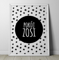 Pokój quot;imię dzieckaquot; - plakat personalizowany w gwiazdki , wymiary - 60cm x 90cm, kolor ramki - biały