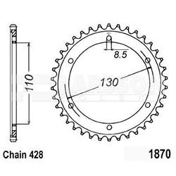 Zębatka tylna stalowa jt 1870-46, 46z, rozmiar 428 2301311 yamaha ybr 250